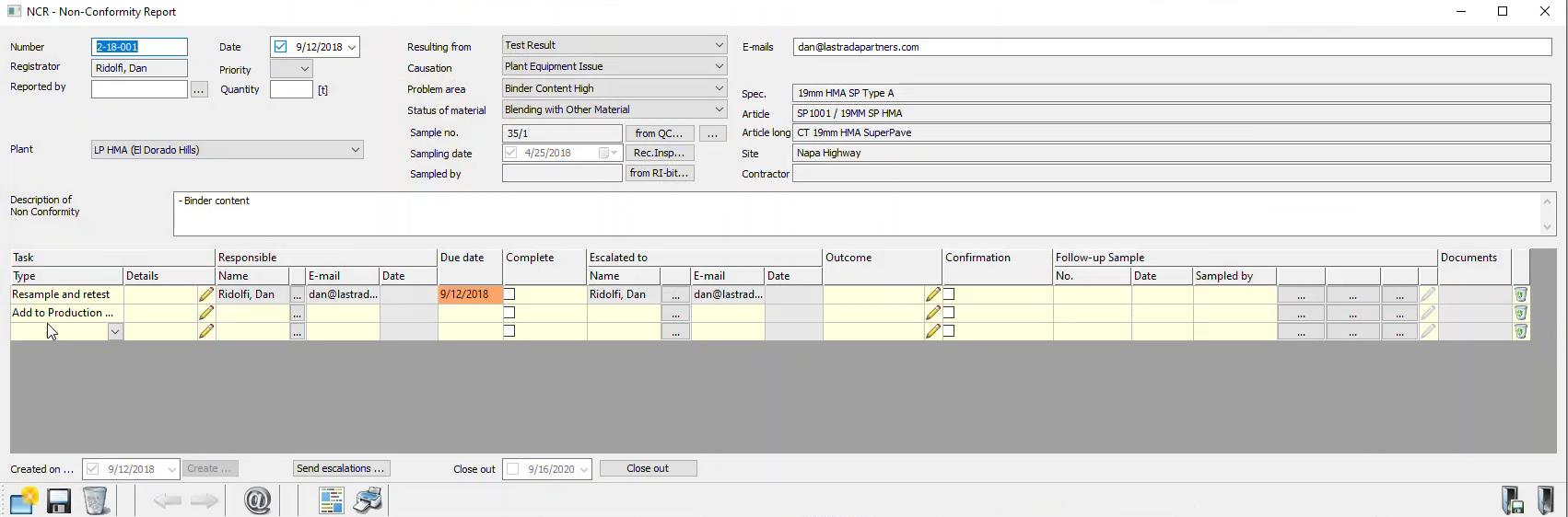 Non-Compliance Reporting - Non-Conformity report